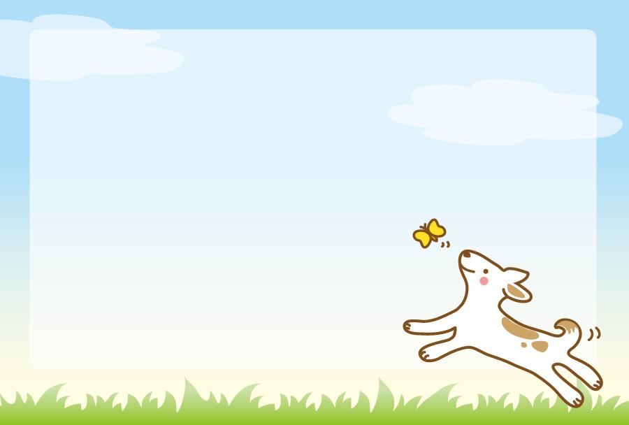 フリーイラスト 野原で蝶と遊ぶ犬の飾り枠