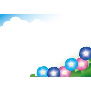 フリーイラスト, ベクター画像, EPS, 背景, フレーム, 対角フレーム, 植物, 花, 朝顔(アサガオ), 夏