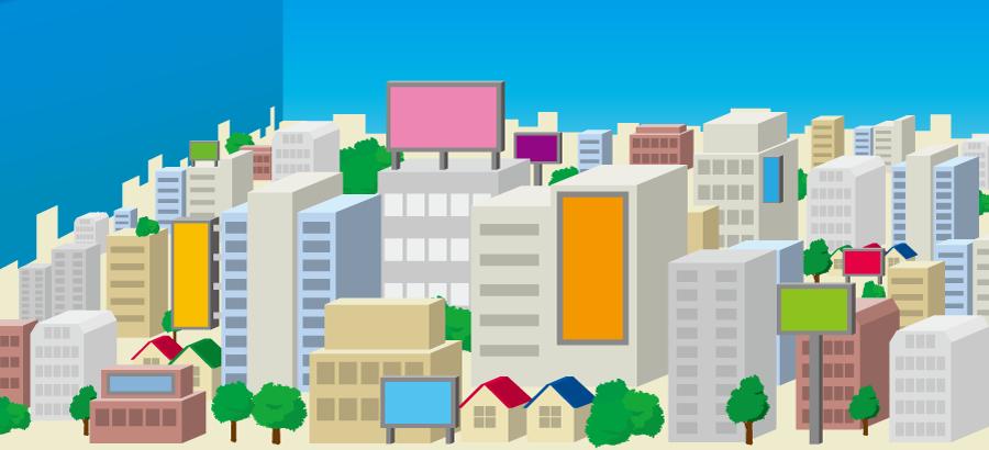 フリーイラスト オフィスビルの建ち並ぶ都会の風景