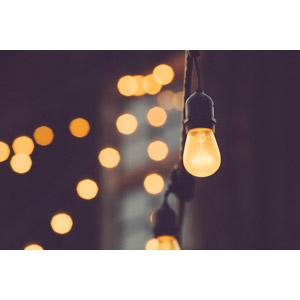 フリー写真, 照明器具, 電球, 玉ボケ