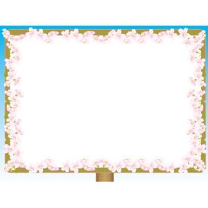フリーイラスト, ベクター画像, AI, 背景, フレーム, 囲みフレーム, 掲示板, 看板, 花, 桜(サクラ), 春, ピンク色の花