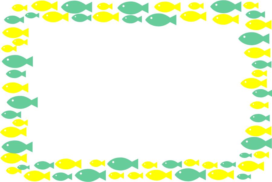 フリーイラスト 黄色と緑色の魚の飾り枠