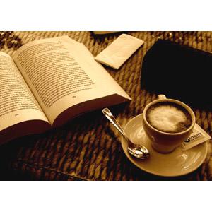 フリー写真, 本(書籍), 飲み物(飲料), コーヒー(珈琲), コーヒーカップ, セピア色