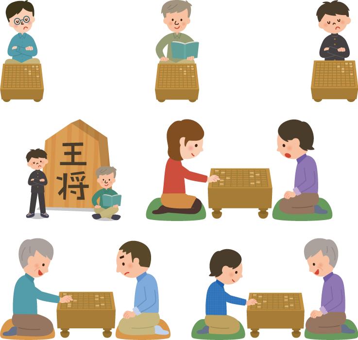 フリーイラスト 7種類の将棋を指す人々のセット