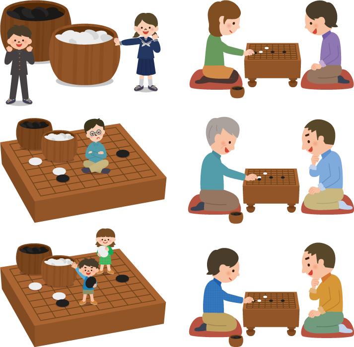 フリーイラスト 6種類の囲碁を打つ人々のセット
