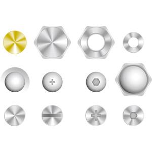 フリーイラスト, ベクター画像, AI, 機械要素, ネジ, ボルト, ナット, 押しピン(画鋲)