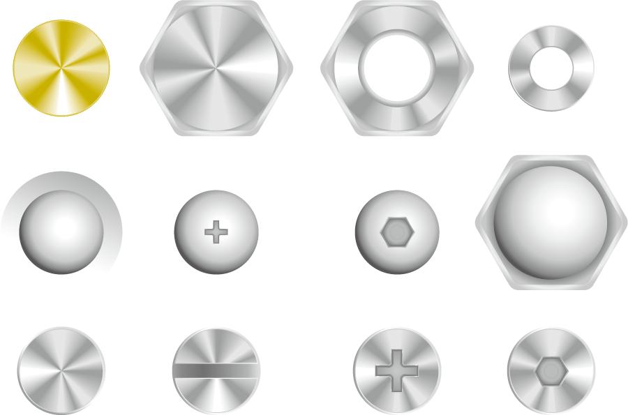 フリーイラスト 12種類の上から見たネジやボルトのセット