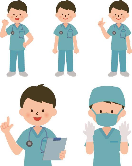 フリーイラスト 5種類の手術衣姿の男性医師のセット