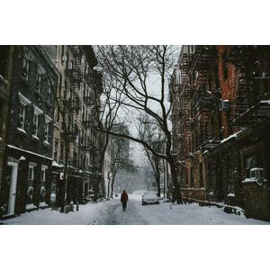 フリー写真, 風景, 建造物, 建築物, 都市, 街並み(町並み), 道路, 雪, 冬, アメリカの風景, ニューヨーク