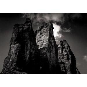 フリー写真, 風景, 自然, 山, アルプス山脈, ドロミテ(ドロミーティ), モノクロ, 岩山, イタリアの風景