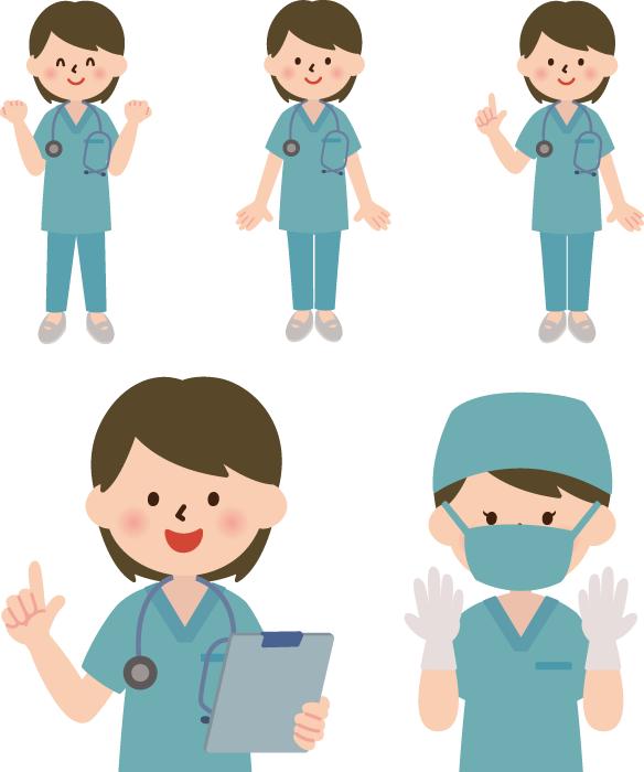 フリーイラスト 5種類の手術衣姿の女性医師のセット
