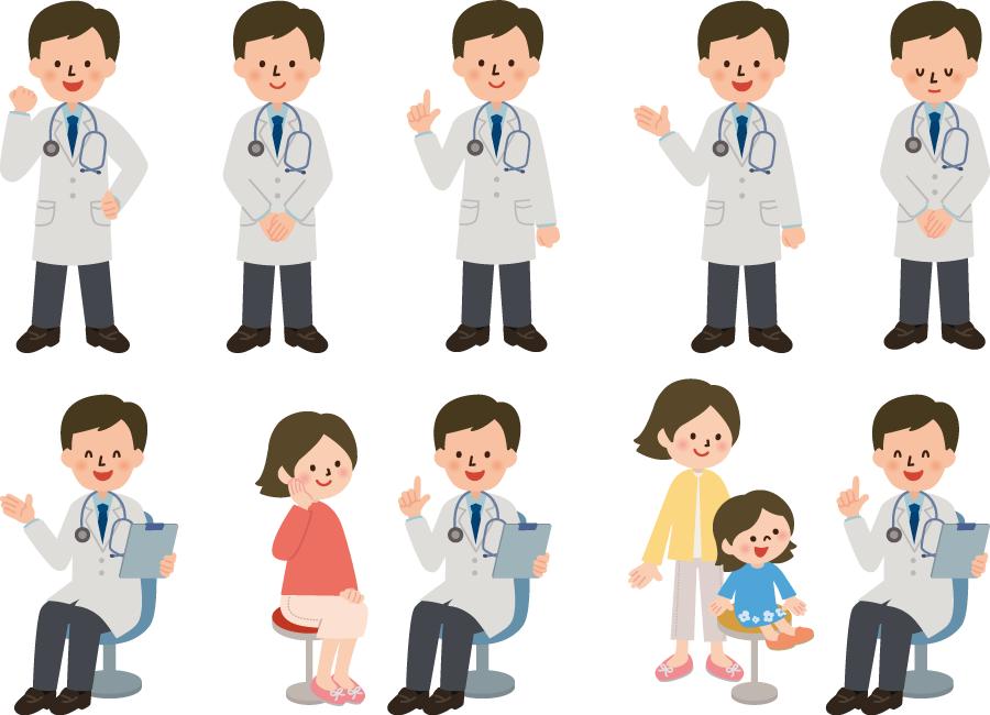 フリーイラスト 患者に病状を説明するなどの8種類の男性医師のセット