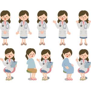 フリーイラスト, ベクター画像, AI, 人物, 女性, 職業, 仕事, 医者(医師), 医療, 女医, 産婦人科医, 聴診器, 案内する, 応援する, ガッツポーズ, 患者, 妊婦, 妊娠, お辞儀, バインダー(クリップボード)