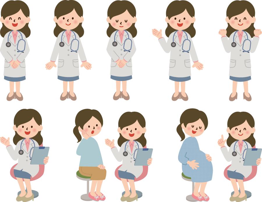 フリーイラスト 患者に病状を説明するなどの8種類の女性医師のセット