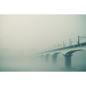 フリー写真, 風景, 建造物, 鉄橋, 霧(霞), 韓国の風景