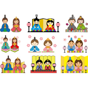 フリーイラスト, ベクター画像, AI, 年中行事, 雛祭り(ひなまつり), 3月, 上巳(桃の節句), ひな人形