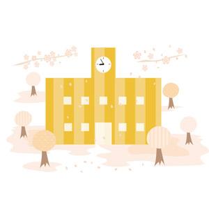 フリーイラスト, ベクター画像, AI, 学校, 校舎, 春, 桜(サクラ), 桜吹雪