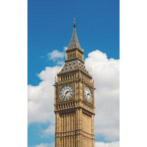 フリー写真, 風景, 建造物, 建築物, 塔(タワー), 時計台, 時計, イギリスの風景, ロンドン, 青空, ビッグ・ベン(エリザベス・タワー)
