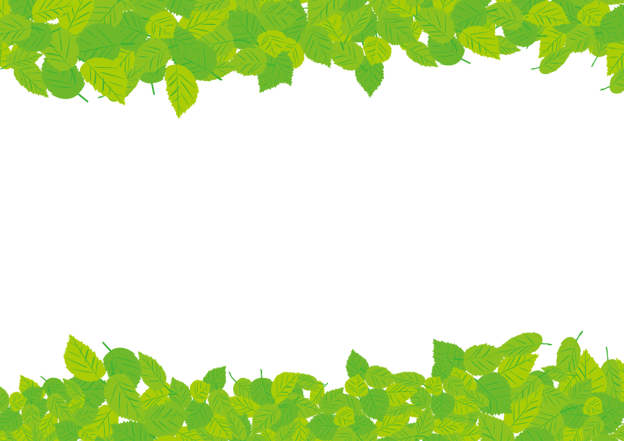 フリーイラスト 緑色の葉の飾り枠