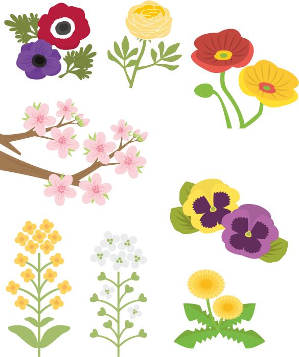 フリーイラスト アネモネやパンジーなどの8種類の春の花のセット