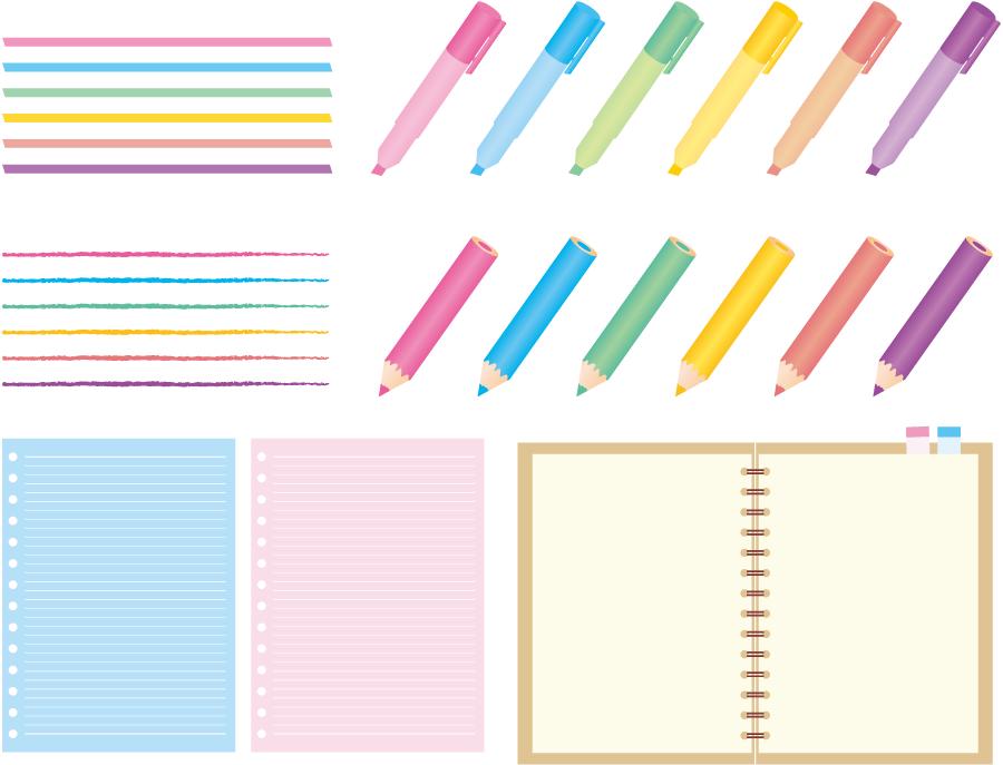 フリーイラスト 蛍光ペンと色鉛筆とルーズリーフのセット