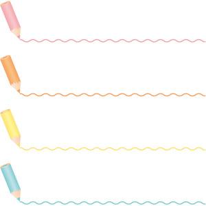 フリーイラスト, ベクター画像, EPS, 飾り罫線(ライン), 画材, 色鉛筆, 波線