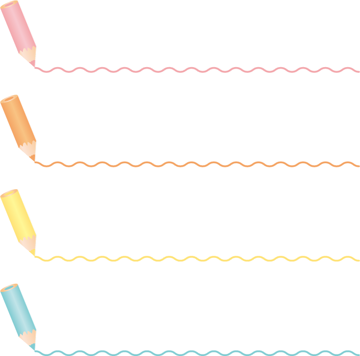 フリーイラスト 色鉛筆の見出しと波線の飾り罫線