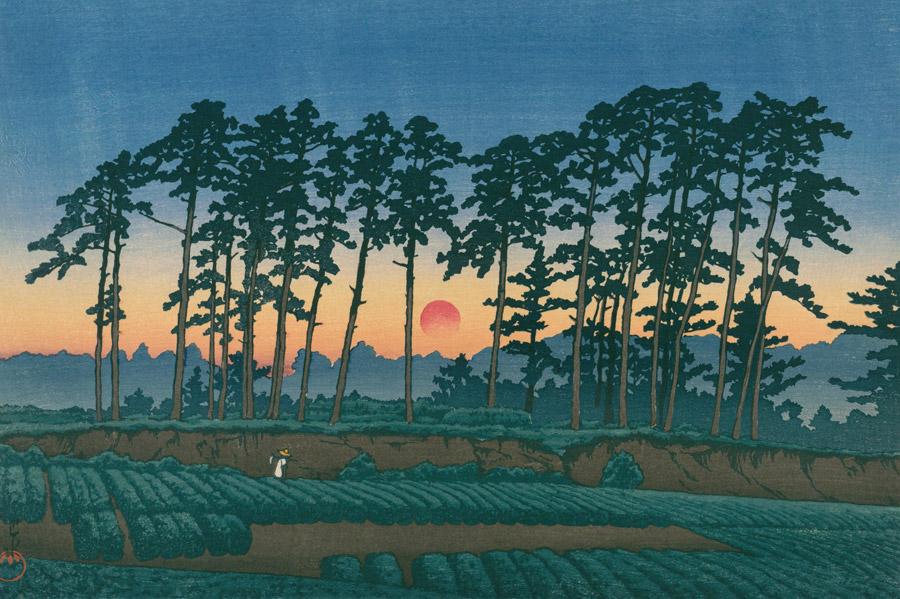 フリー絵画 川瀬巴水作「東京二十景 池上市之倉(夕陽)」