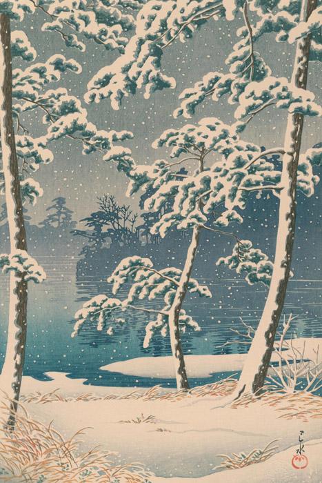 フリー絵画 川瀬巴水作「東京二十景 千束池」