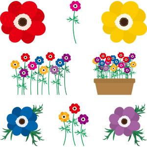 フリーイラスト, ベクター画像, AI, 植物, 花, アネモネ