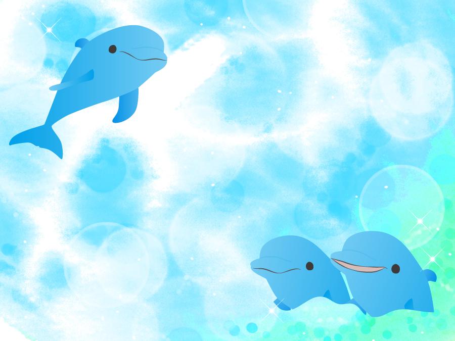 フリーイラスト イルカと海の背景