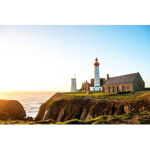 フリー写真, 風景, 建造物, 建築物, 灯台(ライトハウス), 修道院, 廃墟, 海岸, 海, フランスの風景