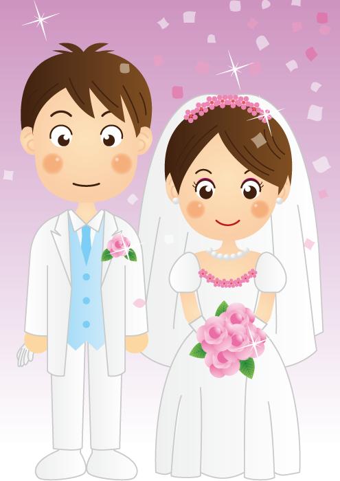 フリーイラスト 結婚式を挙げる新郎新婦