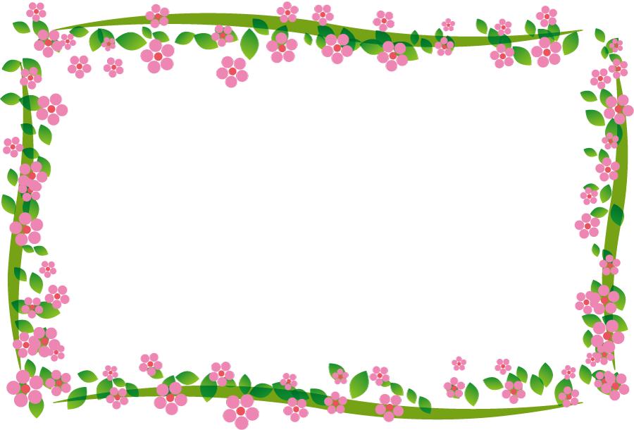 フリーイラスト ピンク色の小花の飾り枠