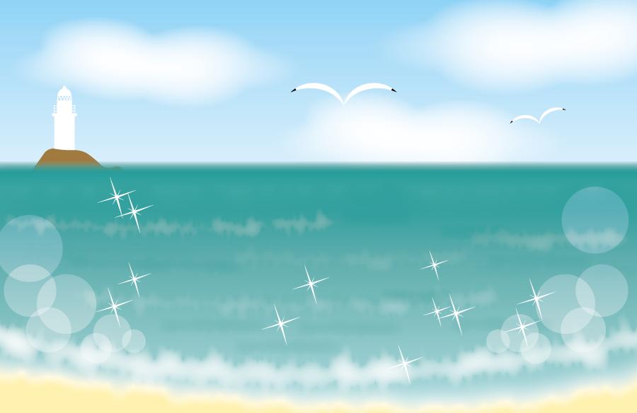 フリーイラスト 夏の浜辺と灯台の風景