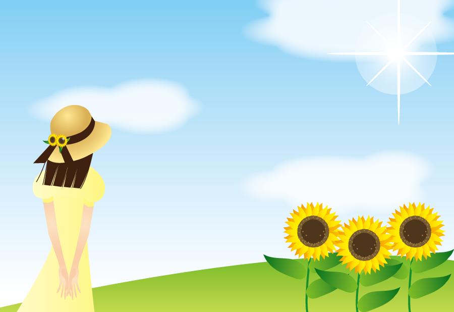 フリーイラスト 夏空とひまわりと少女