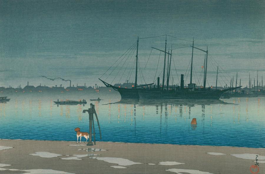 フリー絵画 川瀬巴水作「東京二十景 明石町の雨後」