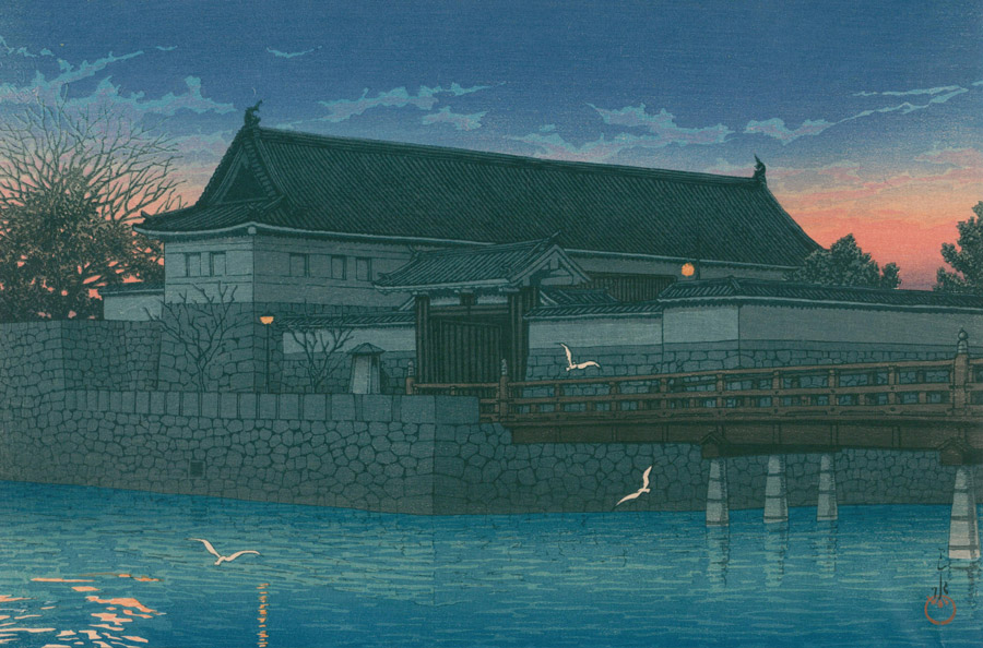 フリー絵画 川瀬巴水作「東京二十景 平河門」