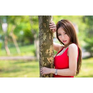 フリー写真, 人物, 女性, アジア人女性, Dora(00078), 中国人, 樹木