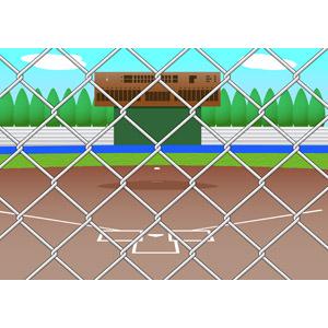フリーイラスト, ベクター画像, EPS, スポーツ, 球技, 野球(ベースボール), 野球場, 金網