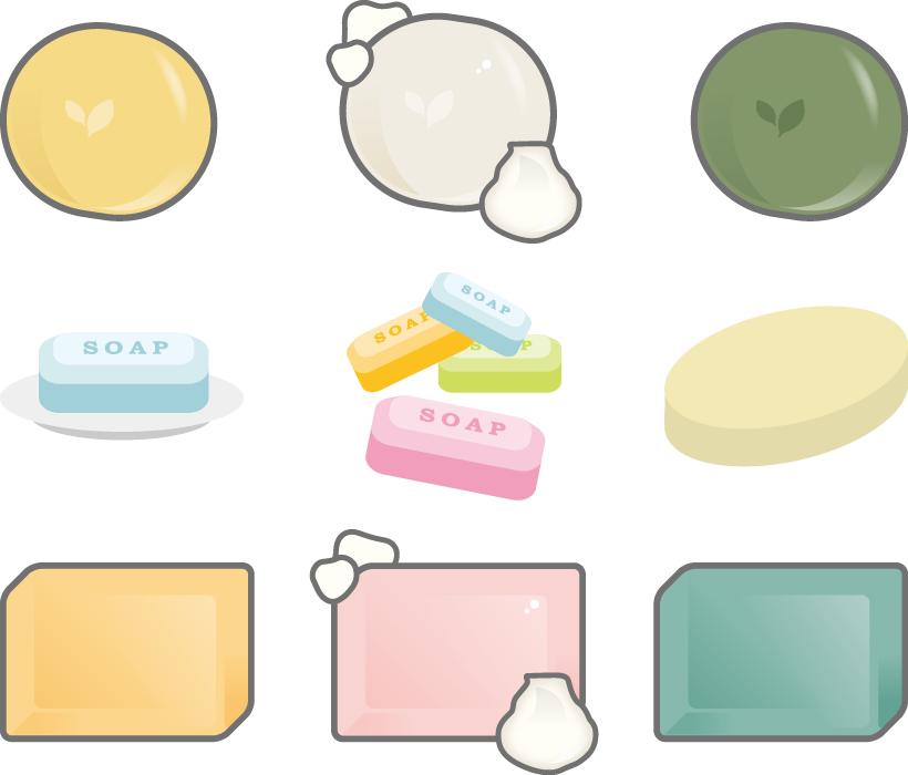 フリーイラスト 9種類の石鹸のセット