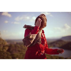 フリー写真, 人物, 女性, 外国人女性, 顔を覆う, コート