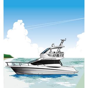 フリーイラスト, ベクター画像, EPS, 乗り物, 船, クルーザー, ビーチ(砂浜), 海, 夏, 積乱雲(入道雲), リゾート, 南国