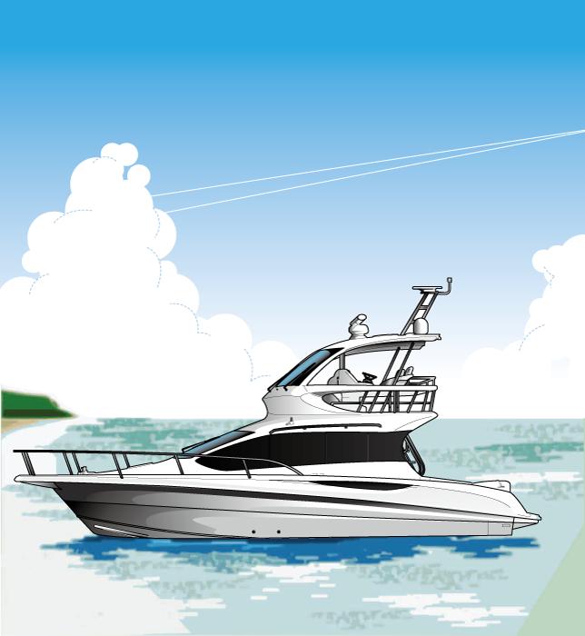 フリーイラスト クルーザーと夏の海の風景