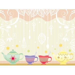 フリーイラスト, ベクター画像, EPS, 背景, ティーポット, ティーカップ, 葉っぱ, 鍵(キー)