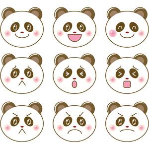 フリーイラスト, ベクター画像, EPS, 動物, 哺乳類, ジャイアントパンダ, 動物の顔, 笑う(動物), 泣く(動物), 驚く(動物), 怒る(動物)