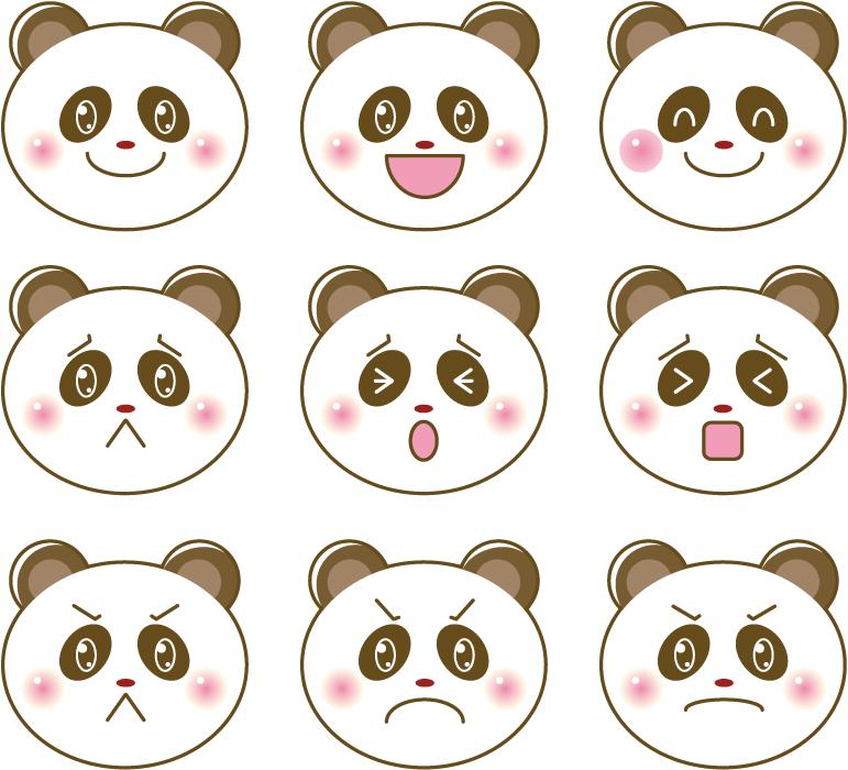 フリーイラスト 9種類のジャイアントパンダの顔のセット