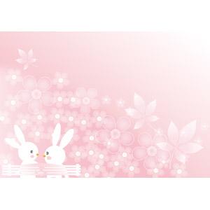 フリーイラスト, ベクター画像, AI, 背景, 動物, 哺乳類, 兎(ウサギ), カップル(動物), 花柄, ピンク色