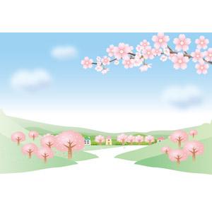 フリーイラスト, ベクター画像, AI, 風景, 田舎, 青空, 樹木, 桜(サクラ), 花, 枝, 山