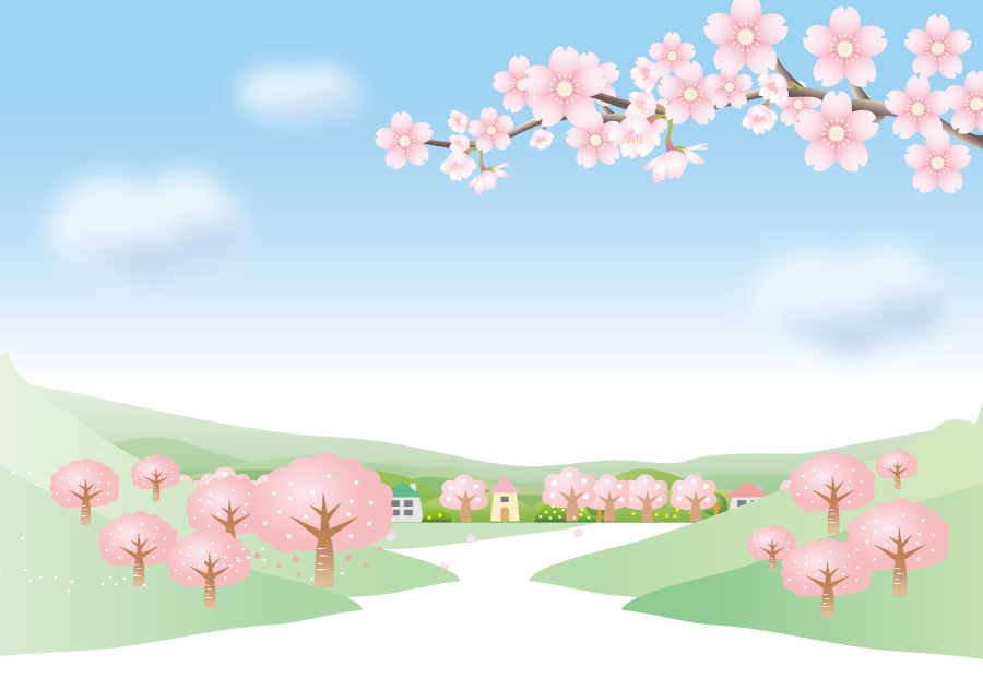 フリーイラスト 青空と満開の桜の木のある風景